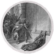Athaliah (d. 836 B.c.). /nqueen Of Judah, C842-836 B.c. The Death Of Athaliah (ii Chronicles 22:10, 23:15). Wood Engraving, 19th Century, After Gustave Dor� Round Beach Towel