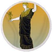 Athena, Greek Goddess Round Beach Towel