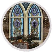 Athens Alabama First Presbyterian Church Stained Glass Window Round Beach Towel