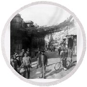 Athens Greece  C 1903 - Aeolos Street And The Stoa Of Hadrian Round Beach Towel