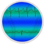Atrial Fibrillation & Normal Heart Beat Round Beach Towel