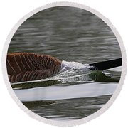Attack Of The Canadian Geese Round Beach Towel