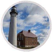 Au Sable Lighthouse 1 Round Beach Towel