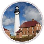 Au Sable Lighthouse 3 Round Beach Towel