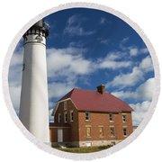 Au Sable Lighthouse 5 Round Beach Towel