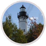Au Sable Lighthouse 8 Round Beach Towel