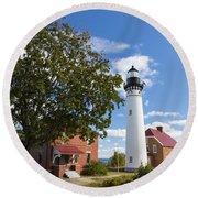 Au Sable Lighthouse 9 Round Beach Towel