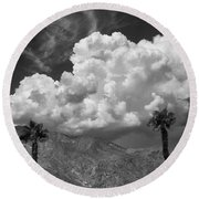 August Clouds Palm Springs Round Beach Towel