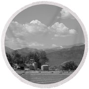 August Hay 75th  St Boulder County Colorado Black And White  Round Beach Towel