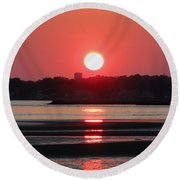 Aura Of A Sunset Round Beach Towel by Meandering Photography