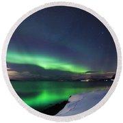 Aurora Borealis Over Vagsfjorden Round Beach Towel