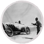 Auto Racing, 1910 Round Beach Towel