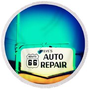 Auto Repair Sign On Route 66 Round Beach Towel