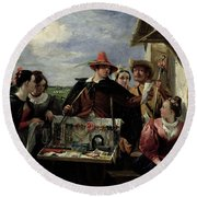Autolycus Scene From 'a Winter's Tale' Round Beach Towel