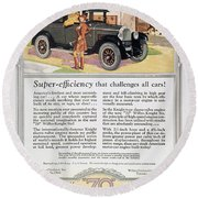 Automobile Ad, 1926 Round Beach Towel