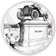 Automobile Cartoon, 1914 Round Beach Towel