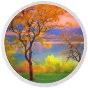 Autum Morning Round Beach Towel
