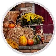 Autumn - Gourd - Autumn Preparations Round Beach Towel by Mike Savad