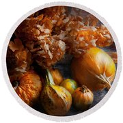 Autumn - Gourd - Still Life With Gourds Round Beach Towel by Mike Savad