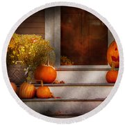 Autumn - Halloween - We're All Happy To See You Round Beach Towel by Mike Savad