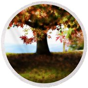 Autumn Acorn Tree Round Beach Towel