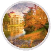 Autumn And Architecture Round Beach Towel