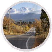 Autumn And Mt Shasta Down The Road Round Beach Towel