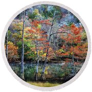 Autumn At Beaver's Bend Round Beach Towel
