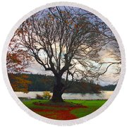 Autumn At British Camp Round Beach Towel