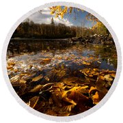 Autumn At Ragged Falls Round Beach Towel