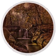 Autumn At The Waterfall In The Ravine In Central Park Round Beach Towel