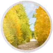 Autumn Back County Road Round Beach Towel