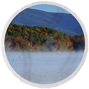 Autumn Backdrop Round Beach Towel