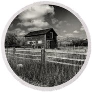 Autumn Barn Black And White Round Beach Towel
