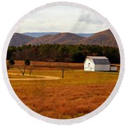Autumn Barn In Green Bank Wv Round Beach Towel