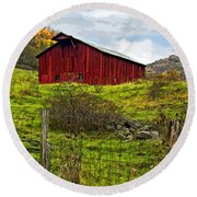 Autumn Barn Painted Round Beach Towel