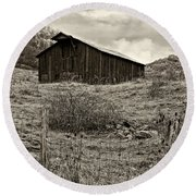 Autumn Barn Sepia Round Beach Towel