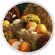 Autumn Bounty Round Beach Towel by Kathy Clark