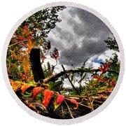 Autumn Breeze Through The Trees    Alt Round Beach Towel