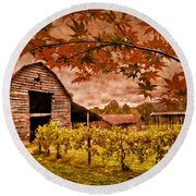 Autumn Cabernet Round Beach Towel