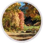 Autumn Campground In Blacksmith Fork Canyon - Utah Round Beach Towel
