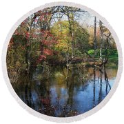 Autumn Colors On The Pond  Round Beach Towel