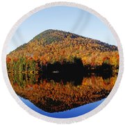 Autumn Colours Reflected In Water Round Beach Towel