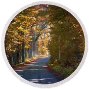 Autumn Country Road - Oil Round Beach Towel
