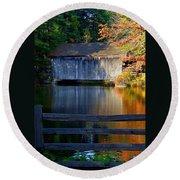 Autumn Crosses The Bridge - Greeting Card Round Beach Towel