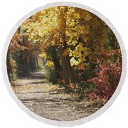 Autumn Dreams With Texture Round Beach Towel