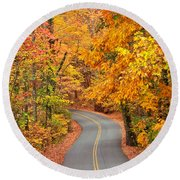 Autumn Drive Signal Mountain Round Beach Towel