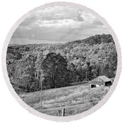 Autumn Farm 2 Monochrome Round Beach Towel