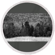 Autumn Field Bw Round Beach Towel