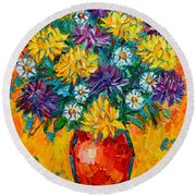 Autumn Flowers Gorgeous Mums - Original Oil Painting Round Beach Towel